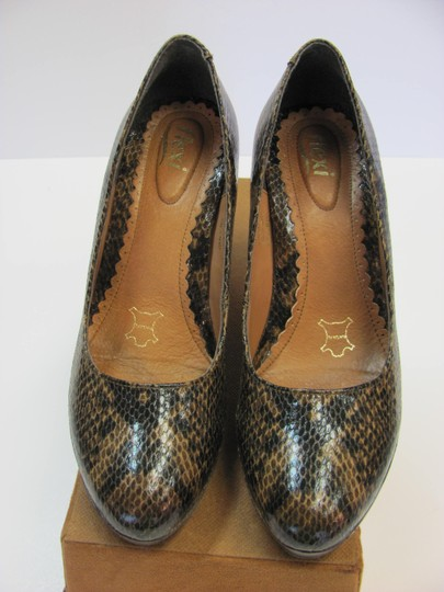 Flexi Leather Reptile Design Size 8.00 M Very Good Condition Brown, Black, Pumps Image 2