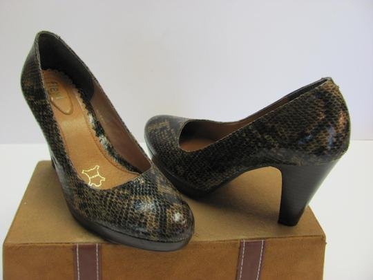 Flexi Leather Reptile Design Size 8.00 M Very Good Condition Brown, Black, Pumps Image 3