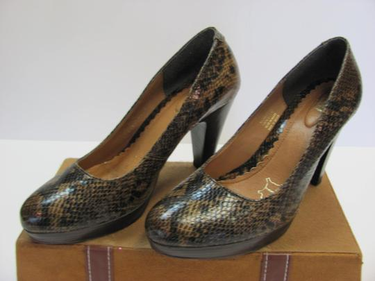 Flexi Leather Reptile Design Size 8.00 M Very Good Condition Brown, Black, Pumps Image 4