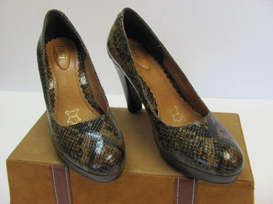 Flexi Leather Reptile Design Size 8.00 M Very Good Condition Brown, Black, Pumps Image 5