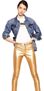 Zara Skinny Metallic Waxed Skinny Jeans-Coated