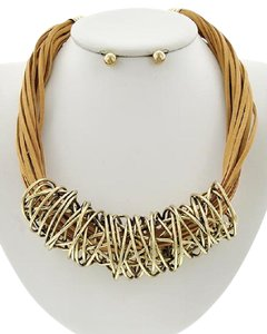Other Gold Tone Lt.brown Suede Necklace & Earring Set