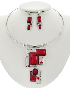 Other Red Acrylic & Rhinestone Necklace & Earring Set