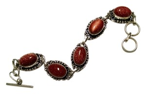 New Gold Stone Gemstone Bracelet 925 Silver Toggle J754