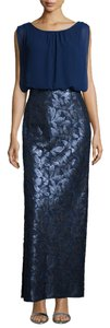 Aidan Mattox Blue Combo Chiffon And Sequined Column Gown Dress