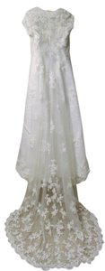 Alfred Angelo White Satin with Lace Overlay And Classic Modest Wedding Dress Size 4 (S)