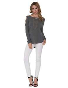 Solemio Cut Out Long Sleeve Top Grey