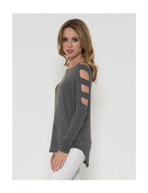 Solemio Cut Out Long Sleeve Top Grey Image 1