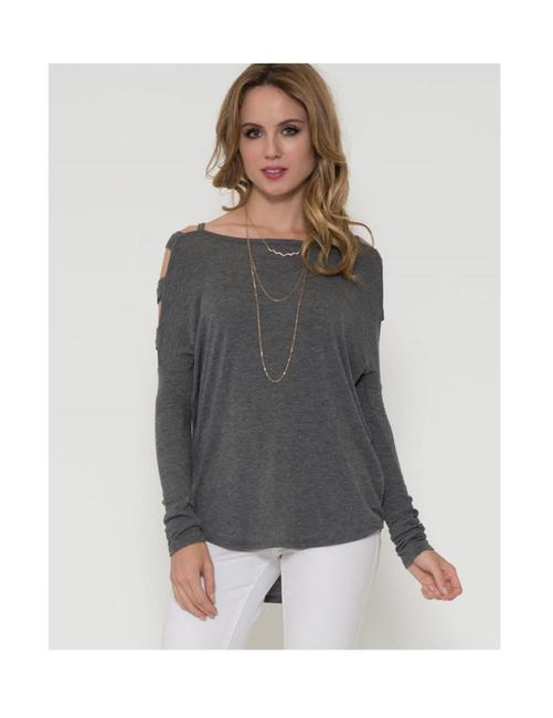 Solemio Cut Out Long Sleeve Top Grey Image 2