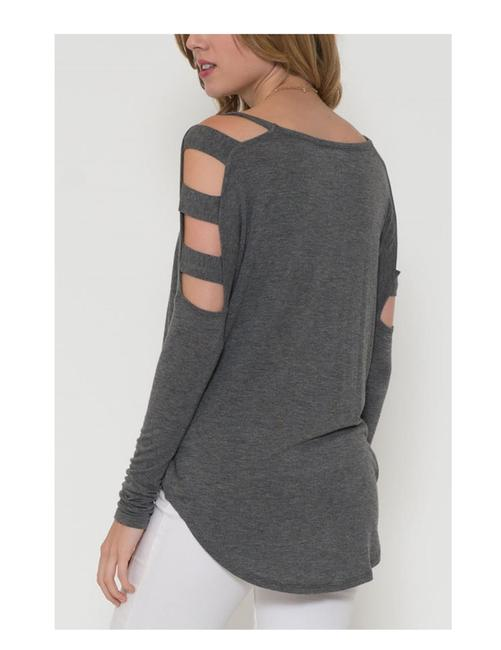 Solemio Cut Out Long Sleeve Top Grey Image 3