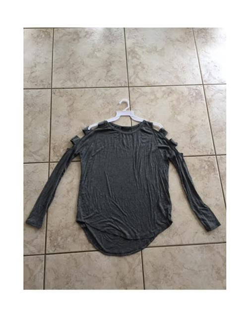 Solemio Cut Out Long Sleeve Top Grey Image 4