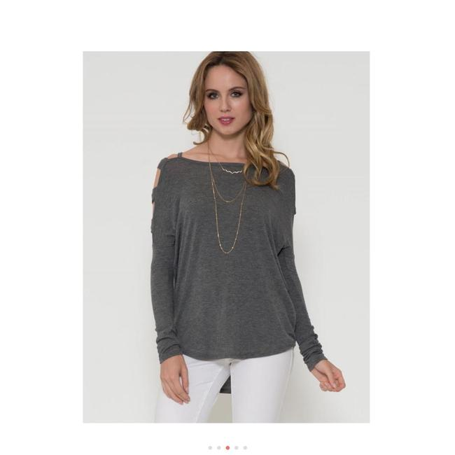 Solemio Cut Out Long Sleeve Top Grey Image 5