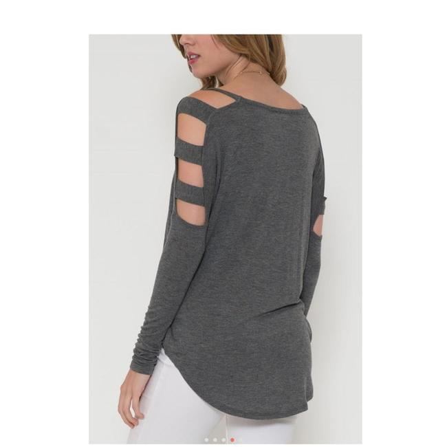 Solemio Cut Out Long Sleeve Top Grey Image 6