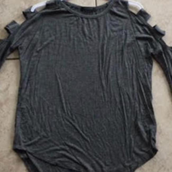 Solemio Cut Out Long Sleeve Top Grey Image 7