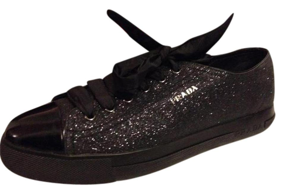 00096ebba947e Prada Black Glitter Platform Patent Leather Cap Toe Lace Up Sneakers ...
