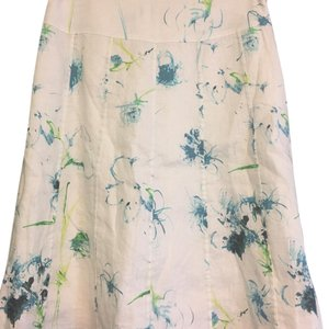 Ann Taylor Skirt white with blue and pale green