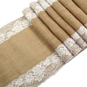 Burlap Table Runners with Lace Trimmings Tablecloth