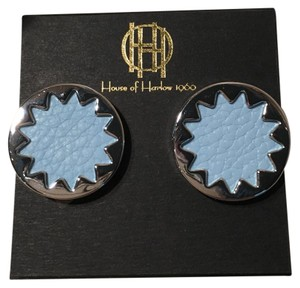 House of Harlow 1960 NEW Sunburst Leather Button Stud Earrings
