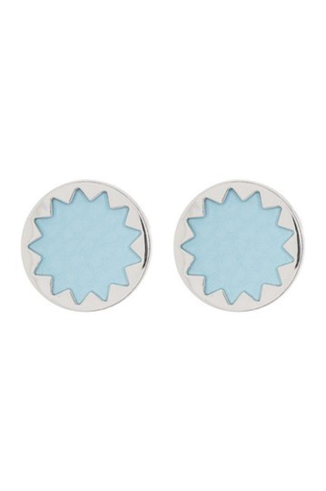 House of Harlow 1960 NEW Sunburst Leather Button Stud Earrings Image 2