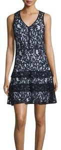 MICHAEL Michael Kors Tiered Skirt Lace Cocktail Black And White Dress