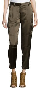 Theory Casual Comfortable Belted Polyester Ankle Cargo Pants brown