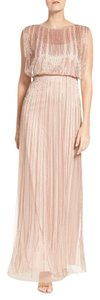 Adrianna Papell Rose Gold Blush Beaded Blouson Gown Dress
