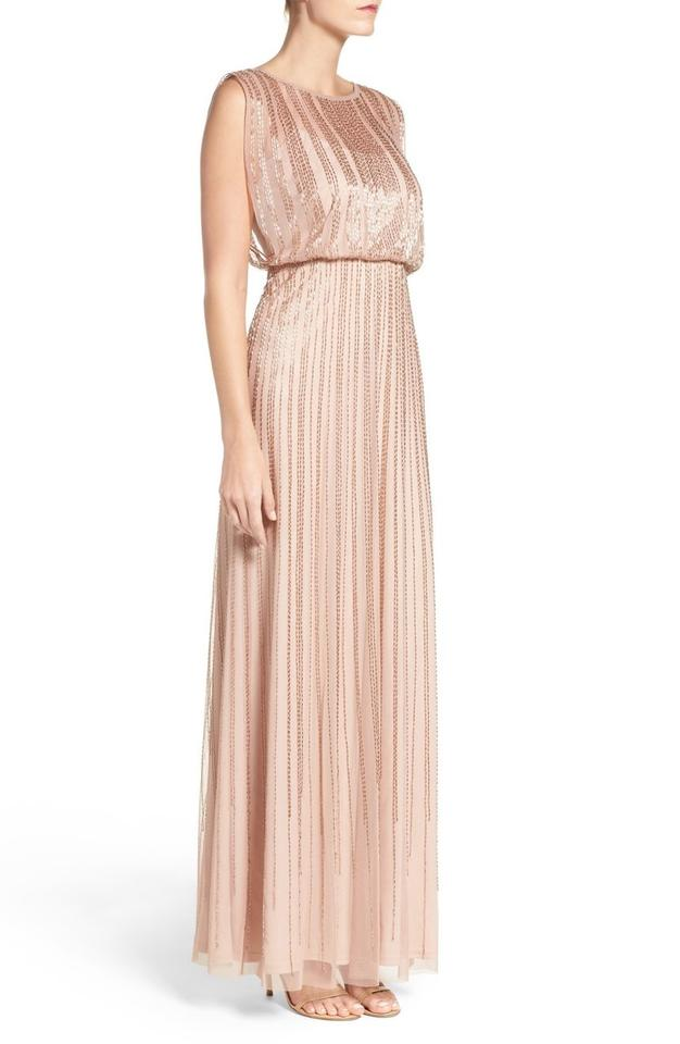 Adrianna Papell Pink Rose Gold Blush Beaded Mesh Blouson Gown Long ...