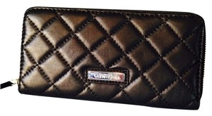 Calvin Klein Black Leather Quilted Zip-Around Wallet