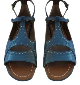Agnona Fabulous Design Contrast Stitching Circular Cut Outs Color Made In Italy Blue Sandals