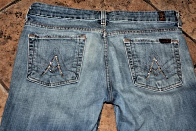 7 For All Mankind Faded Distressed Blue Seven7 Signature Flare Leg Jeans Size 31 (6, M) 7 For All Mankind Faded Distressed Blue Seven7 Signature Flare Leg Jeans Size 31 (6, M) Image 5
