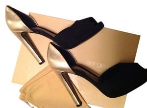 Sergio Rossi Black Suede Leather Platform black/gold metallic Platforms