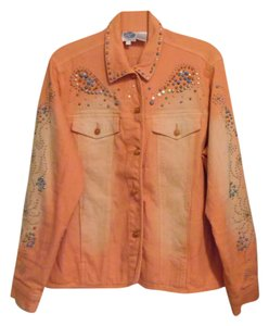 DG2 by Diane Gilman Peach Womens Jean Jacket