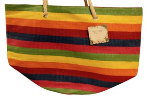 Capelli New York Shoulder Striped Multi Color Large Tote Beach Bag