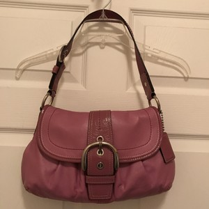 Coach Leather Patent Leather Hobo Shoulder Bag