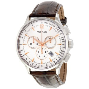 Movado Movado Circa Chronograph White Dial Brown Leather Strap Mens Watch
