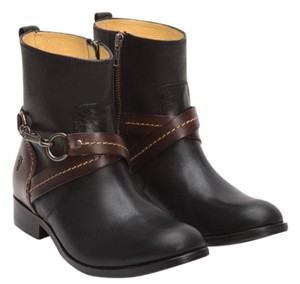 Frye 74154 Molly Hook Stacked Heel Leather Riding Black Boots