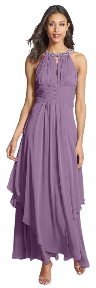 Eliza J Orchid - Embellished Tiered Chiffon Halter Gown Long Formal ...