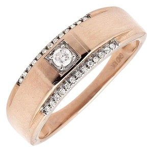 Other Mens 10K Rose Gold Solitaire Accent Diamond 6MM Ring Band 0.25ct.