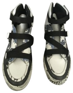 Versace Collection Lace-up Graphic Unique Leather White and Multicolored Athletic