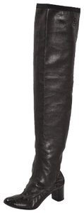 Chanel Leather Over The Knee Black Boots