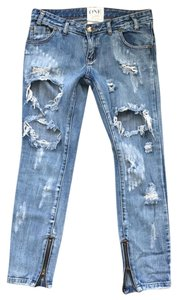 One Teaspoon Relaxed Fit Jeans-Distressed