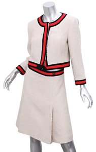 Chanel 01A Womens Ivory Red Stripe Wool Tweed Jacket Skirt Suit