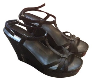 Prada Platform Strappy Mary Jane Open Toe Gucci Black Sandals