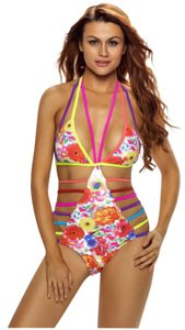 Other One Piece Sexy Strappy Hollow Out Floral Push Up Swimsuit OPEN BACK