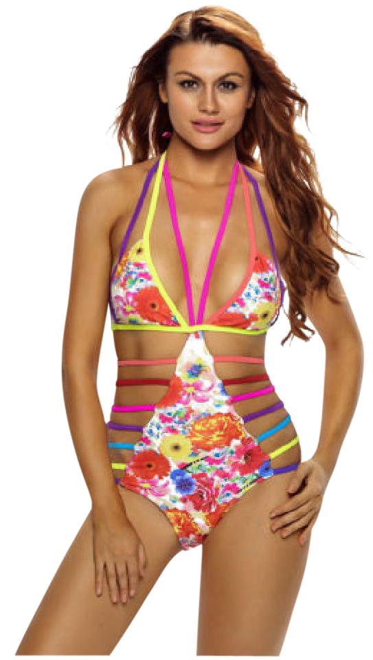 7b99468cbbe Other One Piece Sexy Strappy Hollow Out Floral Push Up Swimsuit OPEN BACK  Image 0 ...