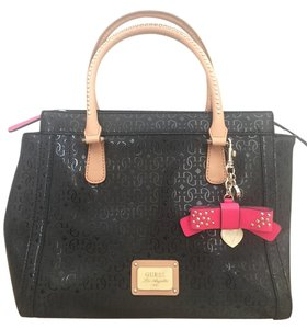 Guess Faux Leather Studded Monogram Tote in black