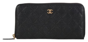 Chanel **CONSIGNOR RETURN** Large Black Caviar Zip Around Wallet