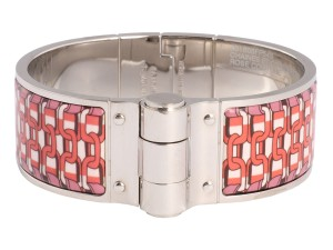 Hermès Wide Rose Couture Printed Enamel Hinged Bracelet