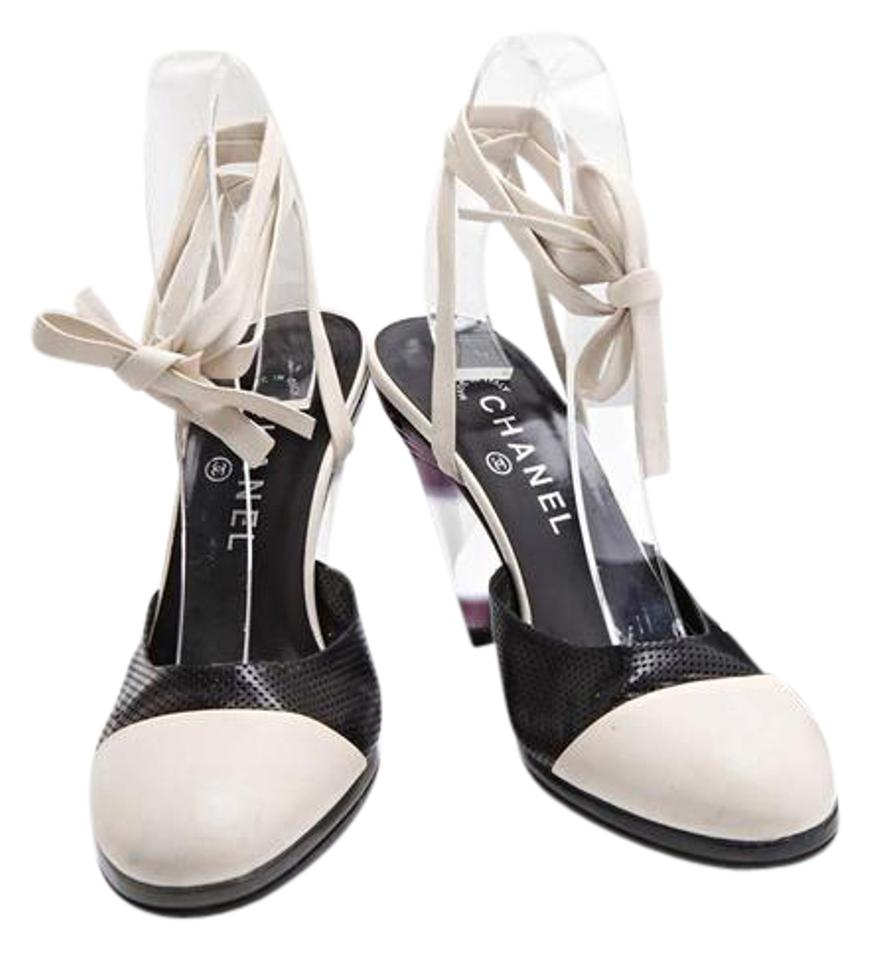 429b71cda89 Chanel Black Womens White Leather Ankle-strap Cone High-heel Mule ...