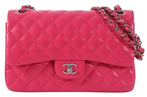 Chanel Pink Quilted Cc Ch.l0223.07 Ruthenium Shoulder Bag